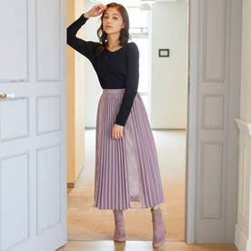 暖か裏地レースプリーツスカート/MAIRY (紫系)
