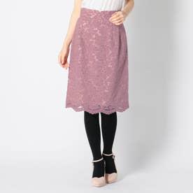 起毛レースタイトスカート (ピンク)
