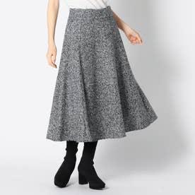 ラメツイードフレアースカート (シロクロ)