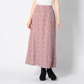 小花柄ロングナロースカート (ピンク)