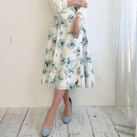 大花柄ハギースカート (ライトグリーン)