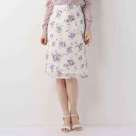花柄レースタイトスカート (シロ)
