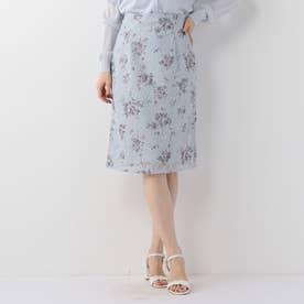 花柄レースタイトスカート (ライトブルー)