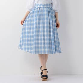 シアーチェックギャザースカート (ライトブルー)