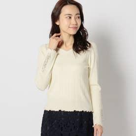 袖微配色刺繍リブニット (イエロー)