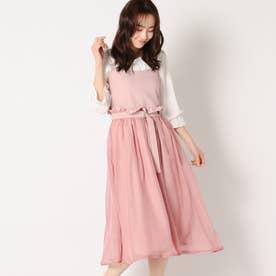 異素材使いジャンパースカート (ピンク)