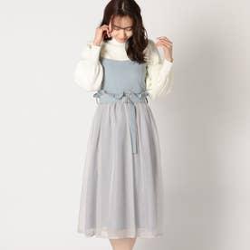 異素材使いジャンパースカート (ライトブルー)