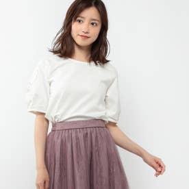 袖フラワー刺繍カットソー (シロ)
