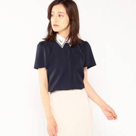 ハシゴ刺繍衿半袖ブラウス (ネイビー)