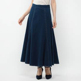 カラーデニムマーメイドスカート (ブルー)