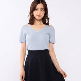 肩明き刺繍ニット (ブルー)