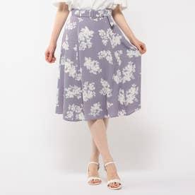 単色花柄スカート (ライトブルー)