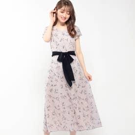 小花柄シフォンワンピース (ピンク)
