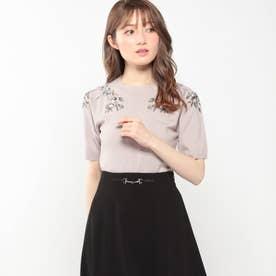 オータムフラワー刺繍ニット (ピンク)