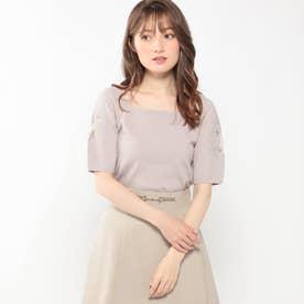 袖透かし刺繍スクエアニット (ピンク)