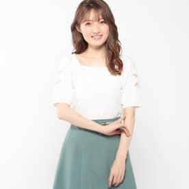 袖透かし刺繍スクエアニット (シロ)