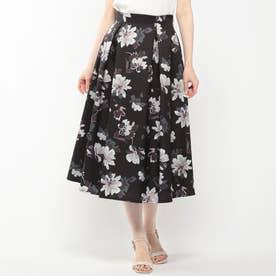ぼかし花柄スカート (クロ)
