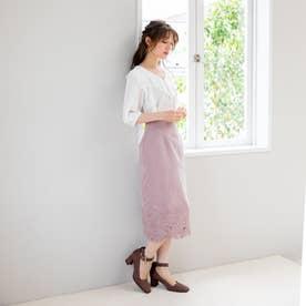 裾刺繍ピーチタイトスカート (グレージュ)