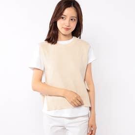 ニットベスト付きTシャツ (ベージュ)