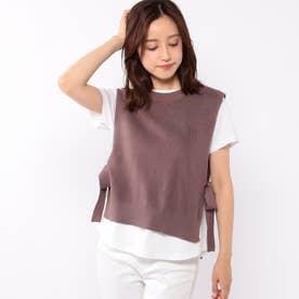 ニットベスト付きTシャツ (モカ)