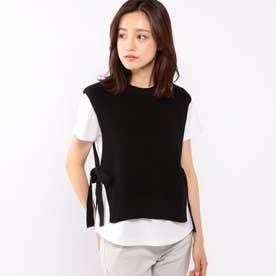 ニットベスト付きTシャツ (クロ)