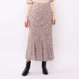 花柄ロングマーメイドスカート (モカ)