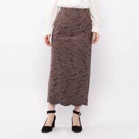 スエード刺繍ロングタイトスカート (ダークブラウン)