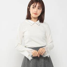 衿付き袖レースニット (シロ)