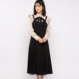 レース切替ジャンパースカート (クロ)