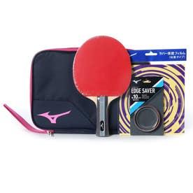 卓球 ラケット(競技用) TECHNIX テクニックス スターターセット 貼り上りラケット ラバー 貼上 ネイビー/ピンク 83JTT09064