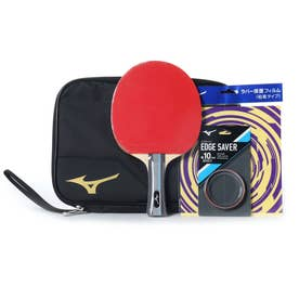 卓球 ラケット(競技用) TECHNIX テクニックス スターターセット 貼り上りラケット ラバー 貼上 ブラック/ゴールド 83JTT09050