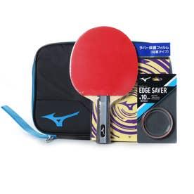 卓球 ラケット(競技用) TECHNIX テクニックス スターターセット 貼り上りラケット ラバー 貼上 ブラック/ブルー 83JTT09027