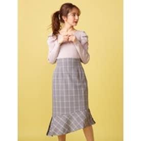 チェック柄ペプラムスカート ブラック