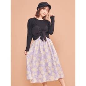 オリジナル単色フラワースカート パープル