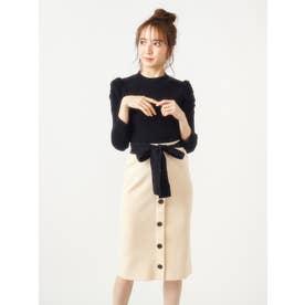 パフスリーブトップス×配色リボンニットスカート (ブラック)