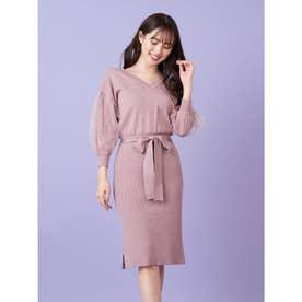 チュール袖2wayニットワンピース (ピンク)