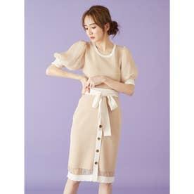 裾スカラップニットタイトスカート (ベージュ)