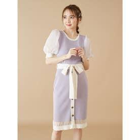 裾スカラップニットタイトスカート (パープル)