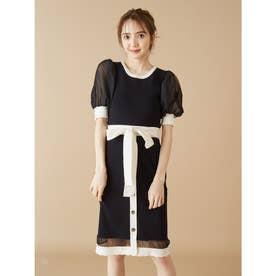 裾スカラップニットタイトスカート (ブラック)