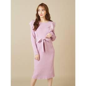 ウエストリボンニットスカート (ピンク)