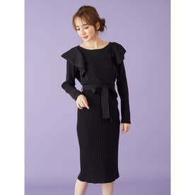 ウエストリボンニットスカート (ブラック)
