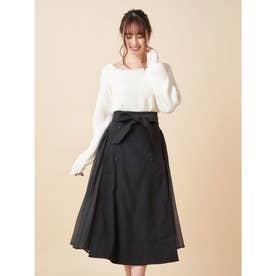 サイドプリーツスカート (ブラック)