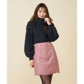 パイピングツイード台形スカート (ピンク)