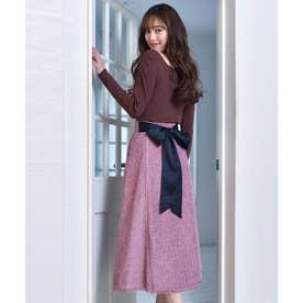 バックリボンツィードスカート (ピンク)