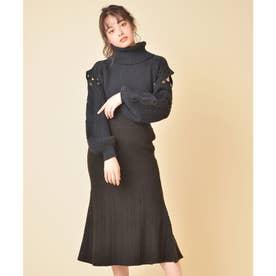 ケーブルニットマーメイドスカート (ブラック)