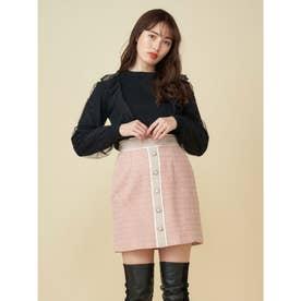 配色ツイード台形スカート (ピンク)
