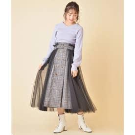 チュールコンビツイードスカート (ブラック)