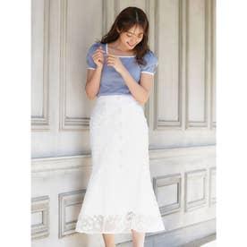 レース刺繍マーメイドスカート (オフホワイト)