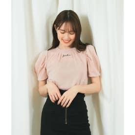 ラメ刺繍Tシャツ (ピンク)