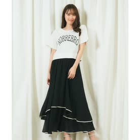 配色パイピングスカート (ブラック)